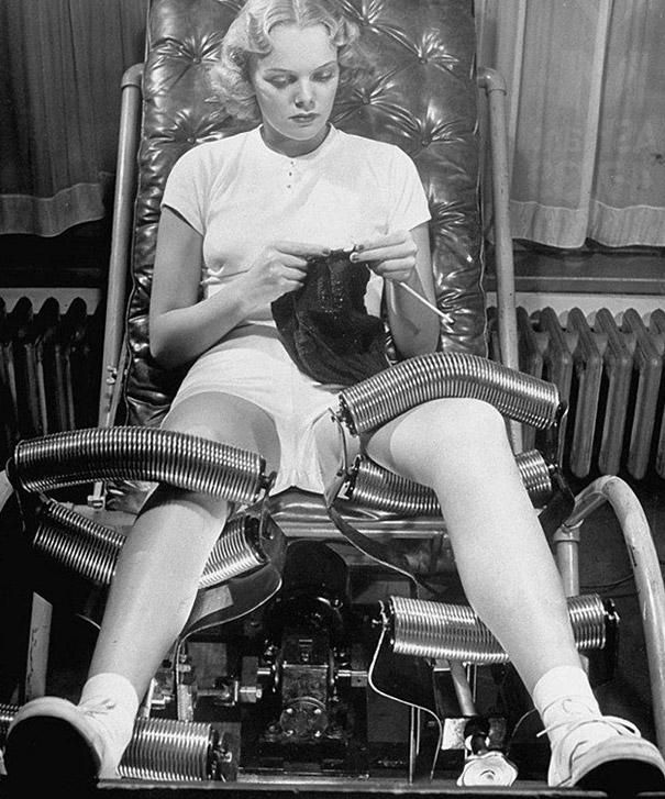 'Slenderising salons' in the forties devised all sorts of weight-loss treatments, one of which was massage chairs like these, which massaged clients' legs with metal rollers