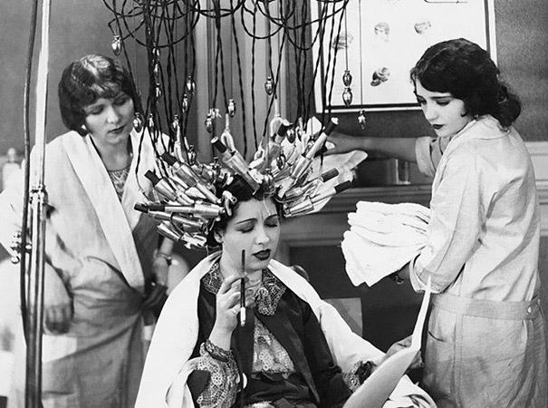 Pre-war women would spend hours with their hair bundled up into creepy heating machines like these to achieve a fashionable curled look