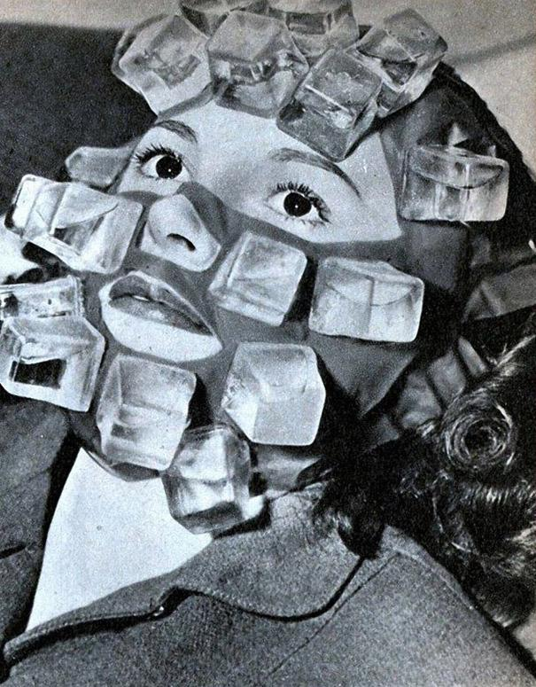 The 'Hangover Heaven' face pack, also invented by Max Factor, featured plastic cubes that could be filled with water and frozen. The mask was popular with party-going Hollywood stars in t