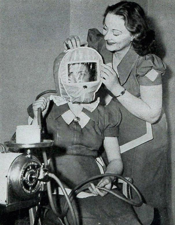 This 'Glamour Bonnet' from the forties promised to give users a rosy complexion by lowering atmospheric pressure around their head to simulate alpine conditions