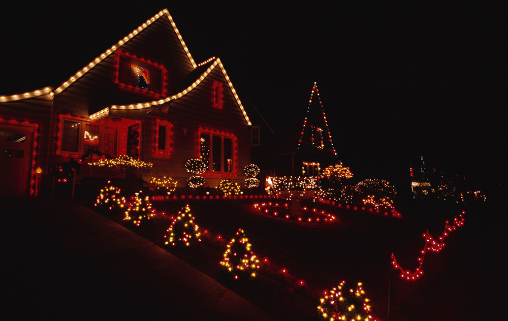 House and Yard Decorated for Christmas