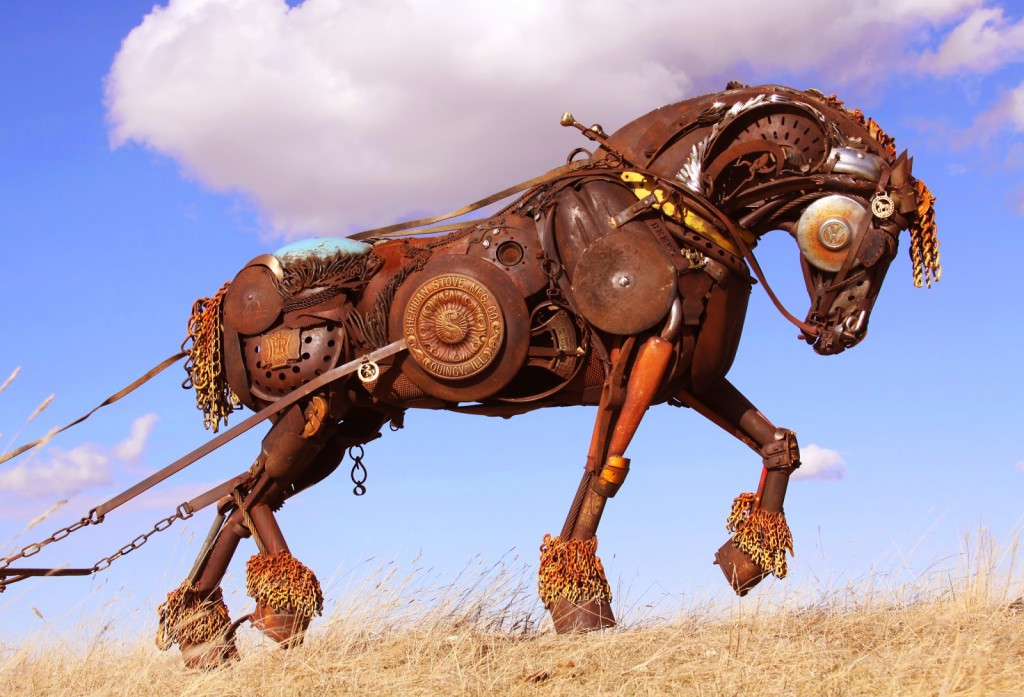 Horse pulling plow
