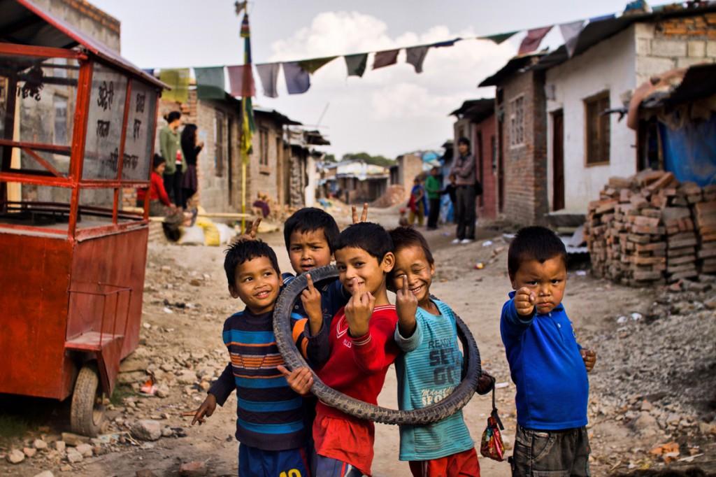 Děti ve slumu (Nepál)