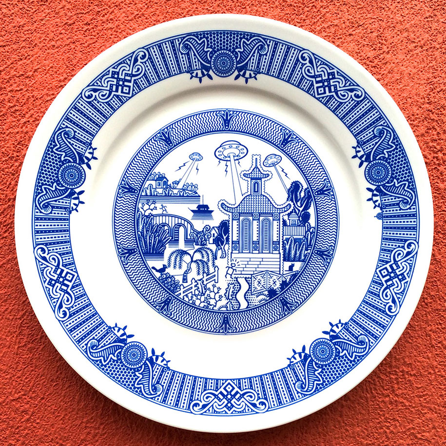 calamityware-blue-porcelain-plates-illustrations-don-moyer-1