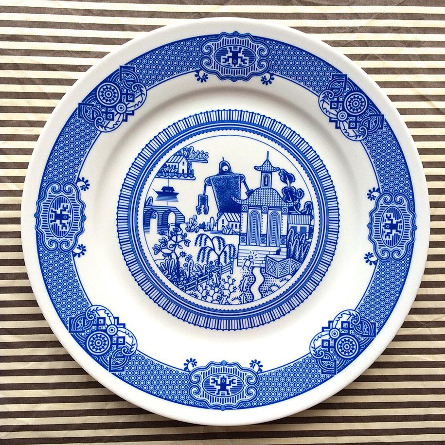 calamityware-blue-porcelain-plates-illustrations-don-moyer-2