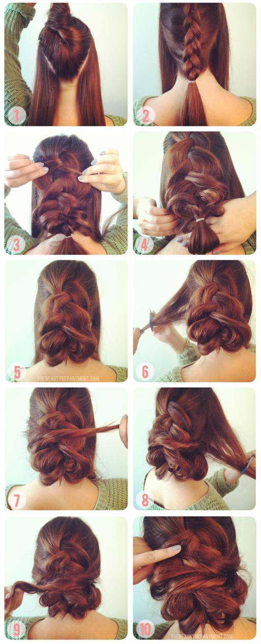 Прическа на длинные густые волосы своими руками 68