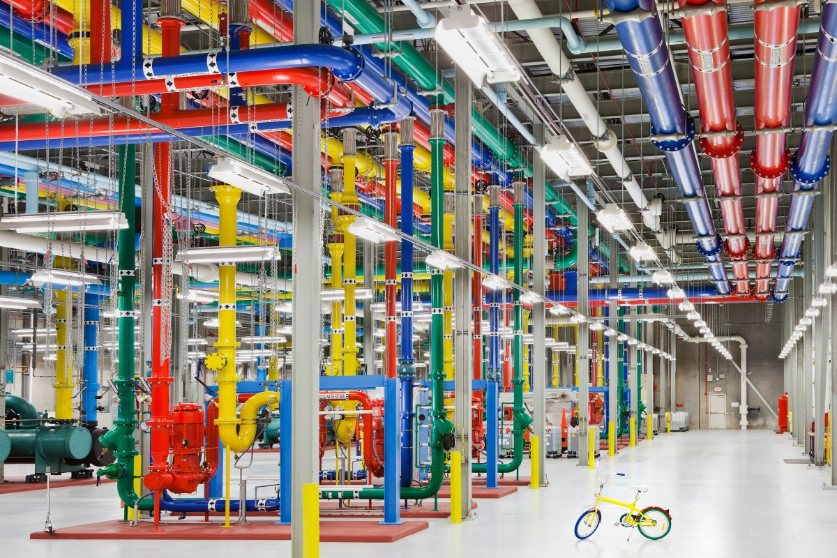 here-is-a-view-inside-the-douglas-county-georgia-data-center-the-colorful-pipes-send-and-receive-water-for-cooling-the-facility-bikes-are-the-preferred-method-of-transportation-inside-the-massive-center