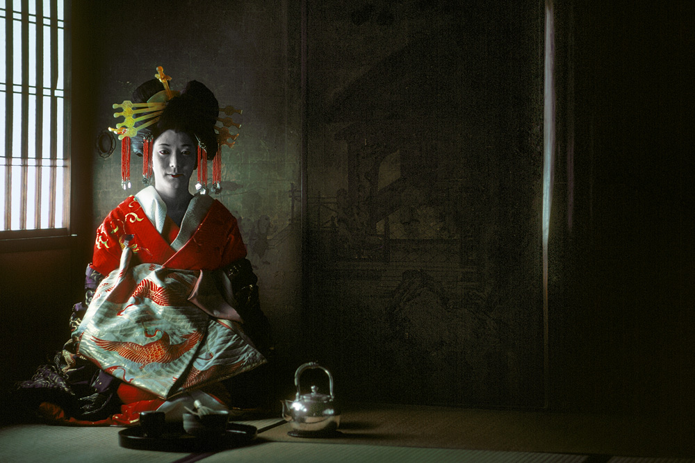 A geisha in full regalia, 1977.