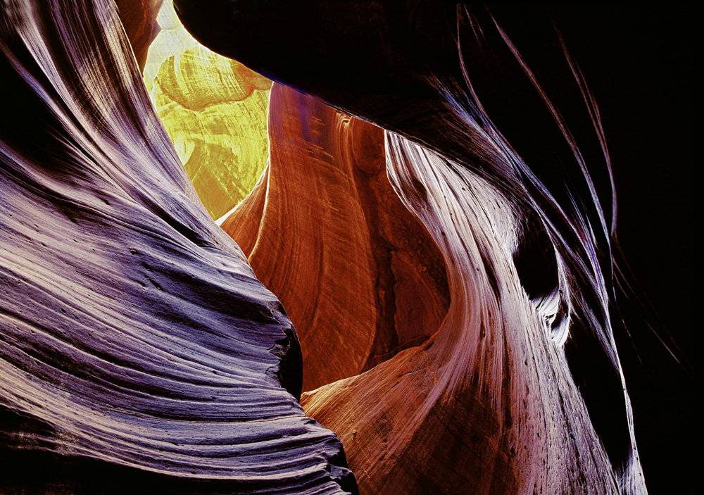 Rock formations inside Antelope Canyon, Arizona, 1995.