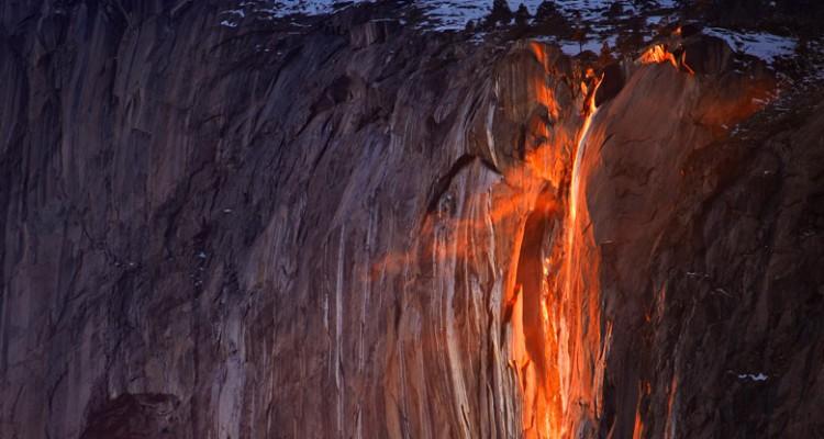 Glowing Horsetail Fall in Yosemite National Park