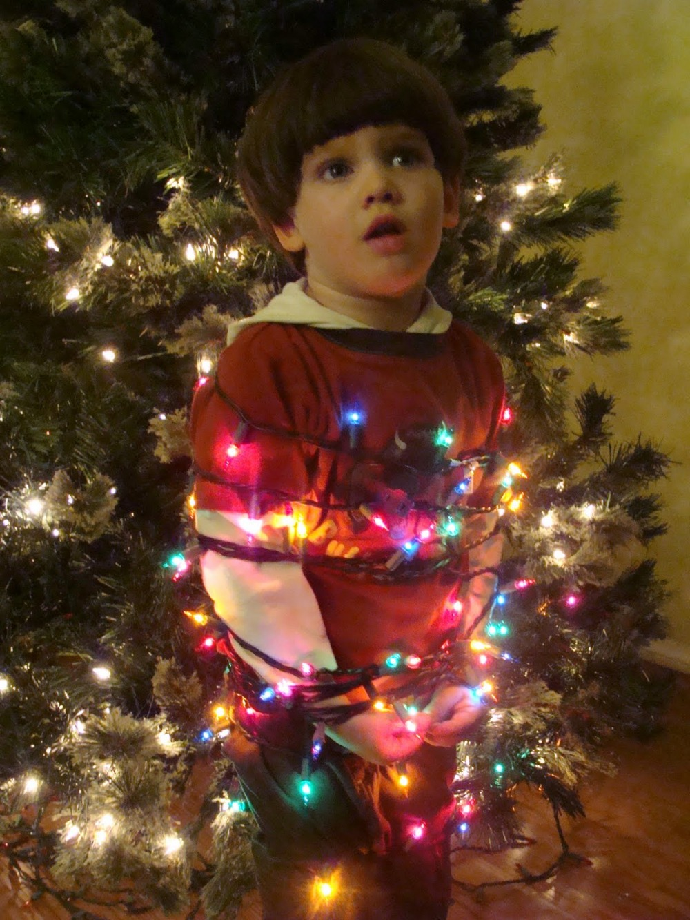 boy-wrapped-lights-awkward-holiday-photos