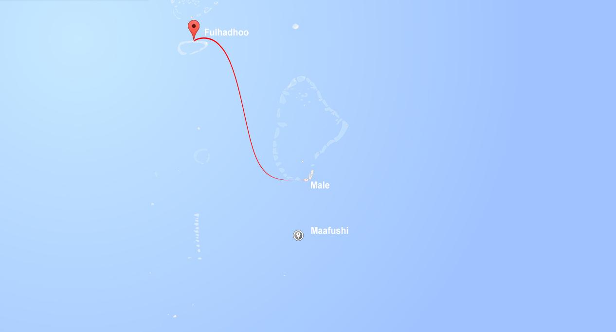 Mapa ostrovu. Maledivy