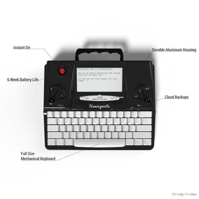 Vlastnosti psacího stroje Hemingwrite