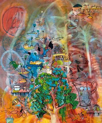 Krámek se smíšeným zbožím za soumraku, olej a inkoust na plátně