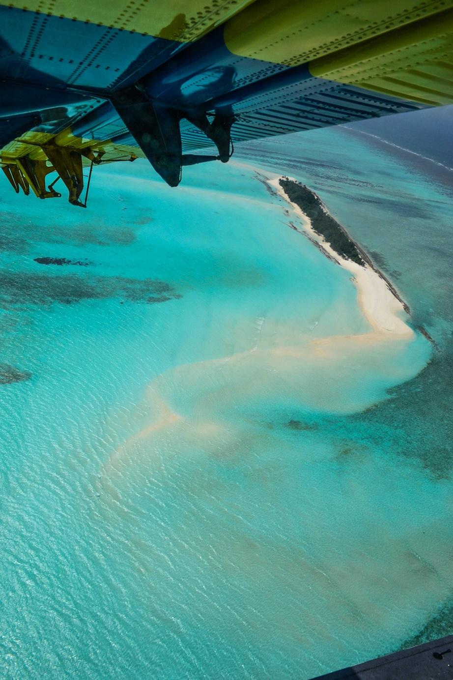 Pohled na ostrov, atol. Maledivy