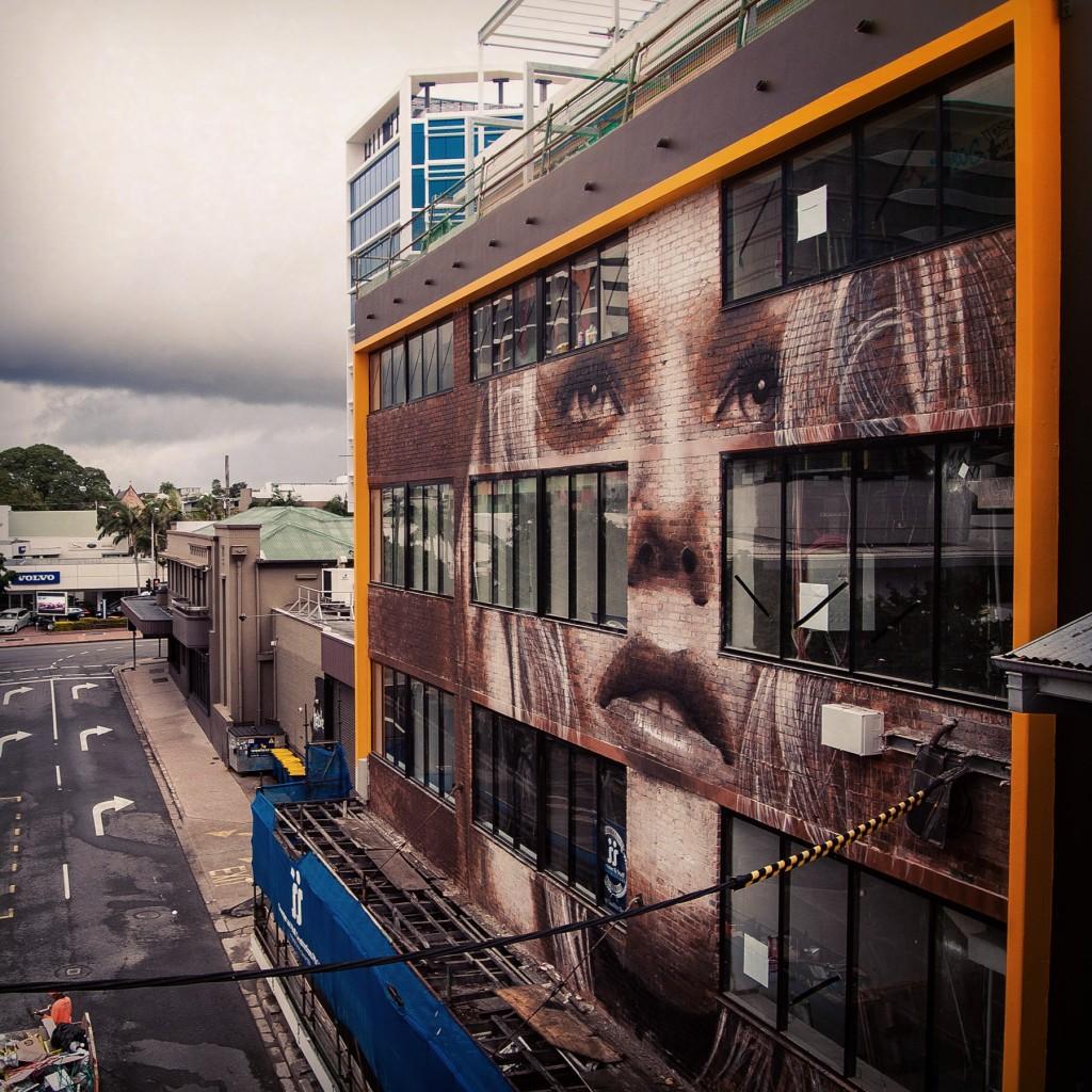 Rone street art Brisbane Tryp hotel