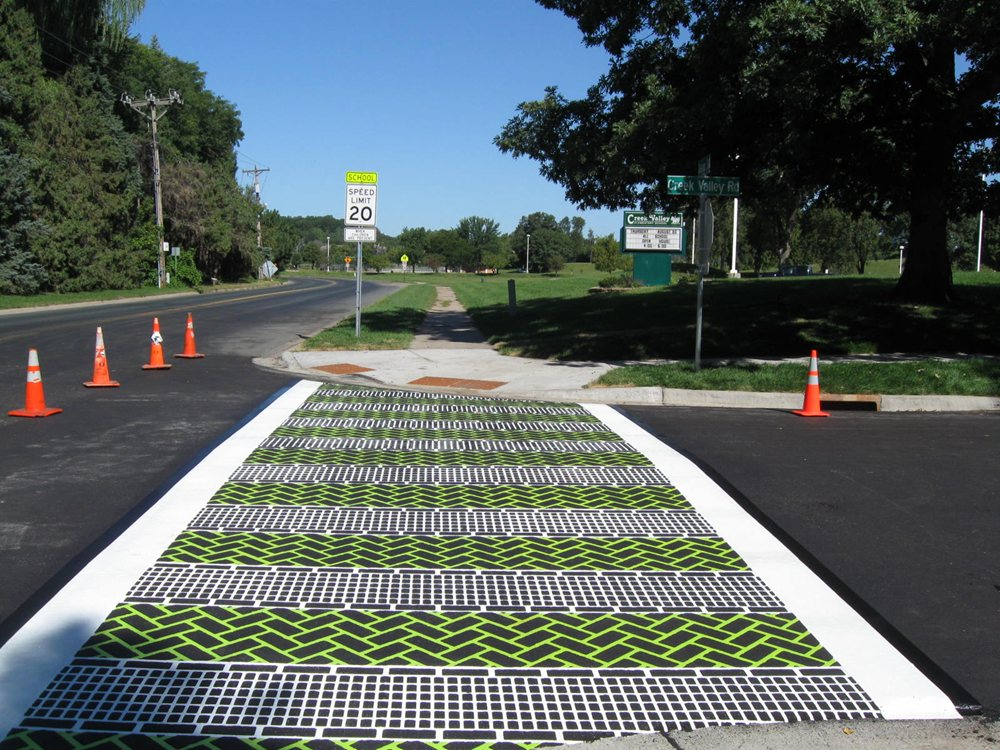 Fun-Green-And-White-Crosswalk-In-Minesota