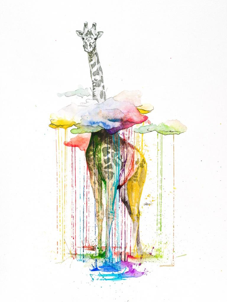 žirafa s duhovým deštěm