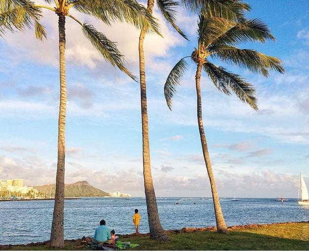 Havaj je dokonalé místo pro děti. Díky krásnému počasí mohou na pláži trávit celé dny. Pokud by jim bylo až velké horko, mohou se schovat do stínu palem.