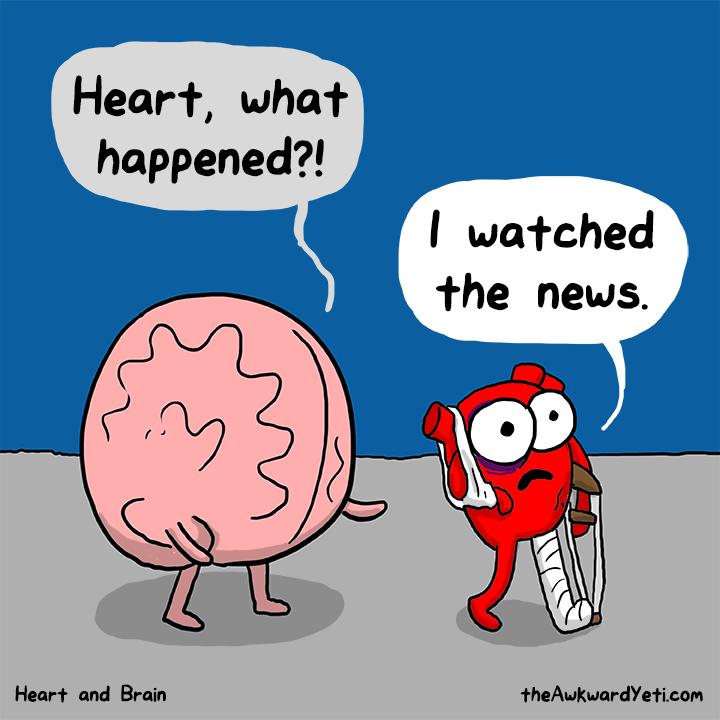 Nick Seluk - The Awkward Yeti - Heart and Brain, srdce a mozek