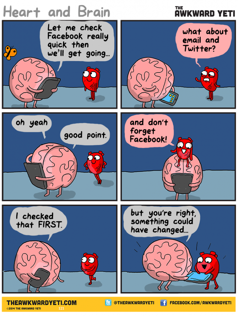 Nick Seluk - The Awkward Yeti - Heart and Brain, srdce a mozek