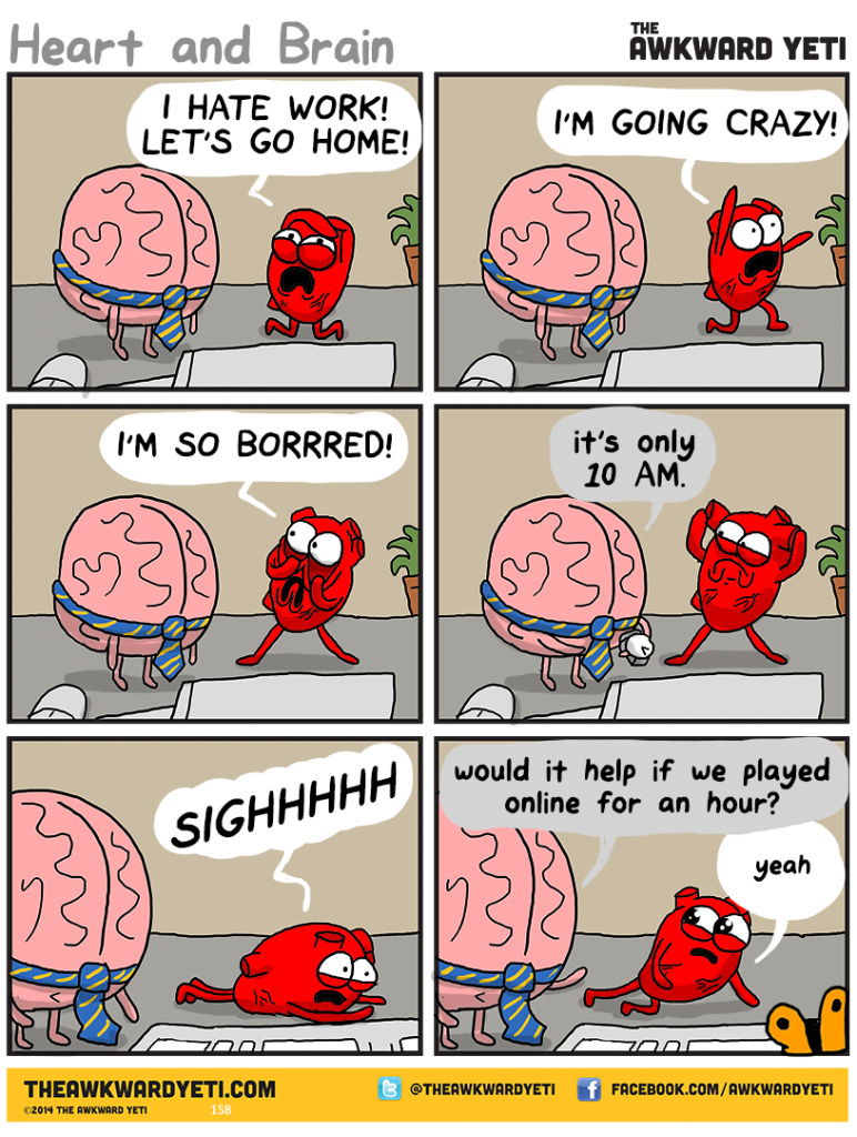 Nick Seluk - The Awkward Yeti - Heart and Brain, mozek a srdce