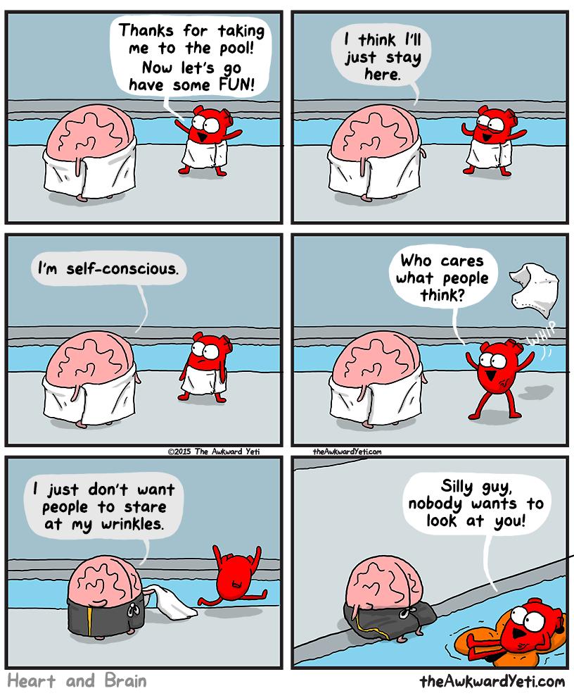Nick Seluk - The Awkward Yeti - Heart and Brain, mozek a srdce