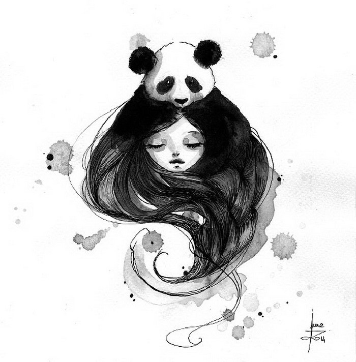 Rozkošné pandy v podmanivých kresbách tuší