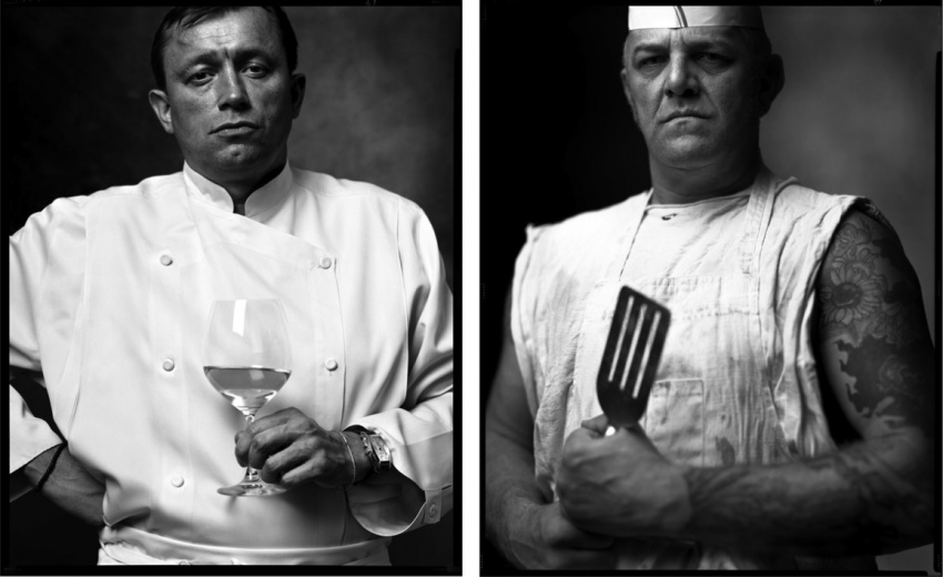 Kuchař ve francouzské restauraci a kuchař ve fast-foodu