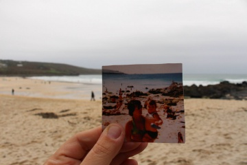 Me and Mum on Porthmeor Beach