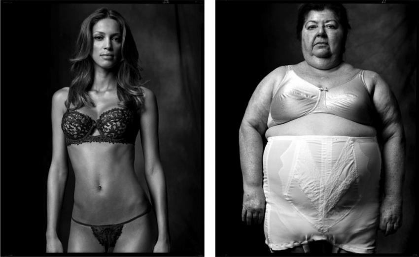 Modelka spodního prádla a tlustá paní