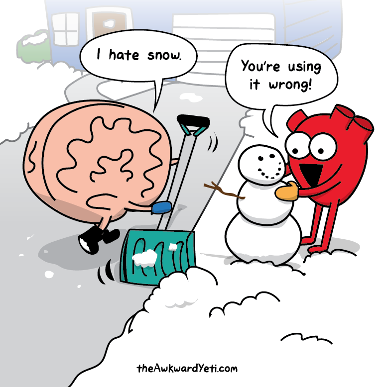 Nick Seluk - The Awkward Yeti - Heart and Brain, mozek a srdce, sníh