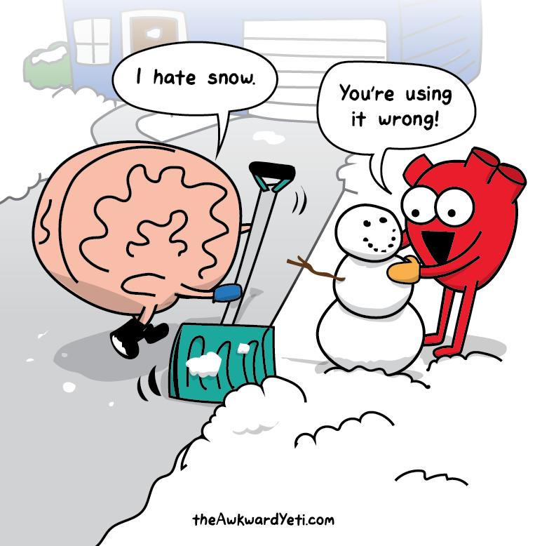 Nick Seluk - The Awkward Yeti - Heart and Brain, mozek a srdce, sníh