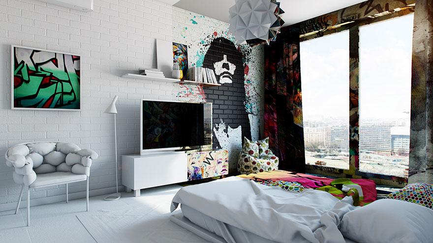 Minimalismus vs. graffiti: Dva světy spojené v jednom pokoji