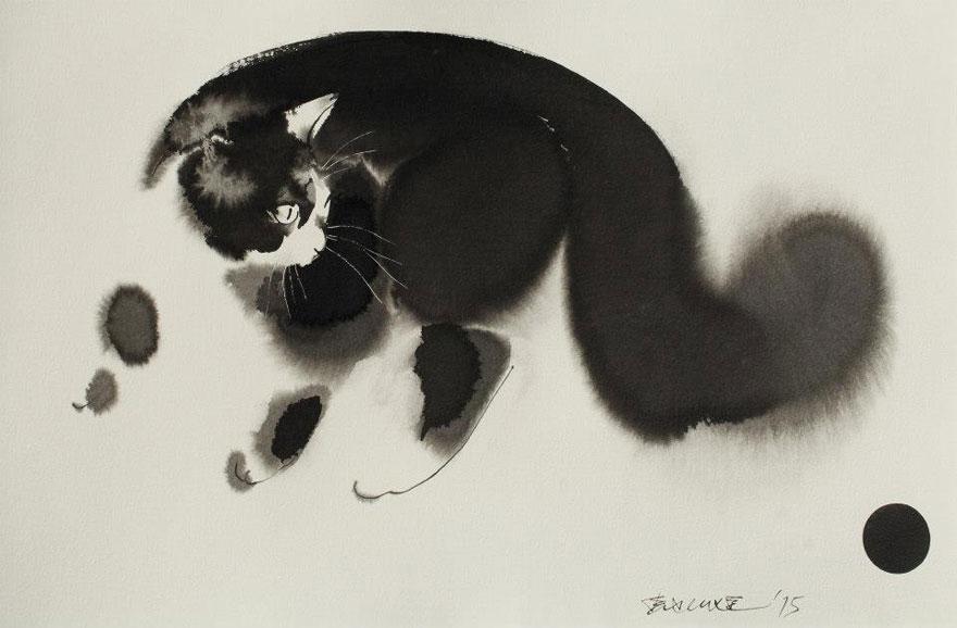 watercolor-cats-ink-paitings-endre-penovac-16