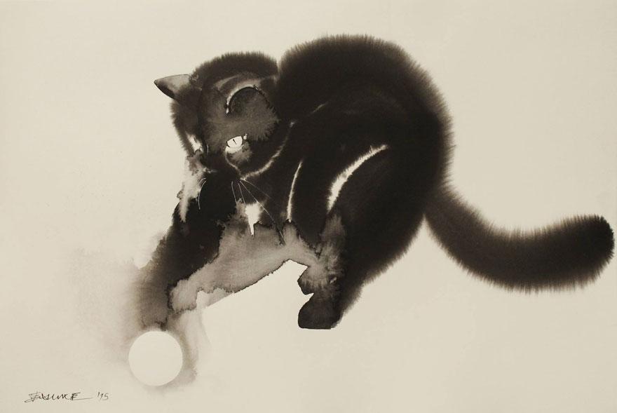 watercolor-cats-ink-paitings-endre-penovac-5