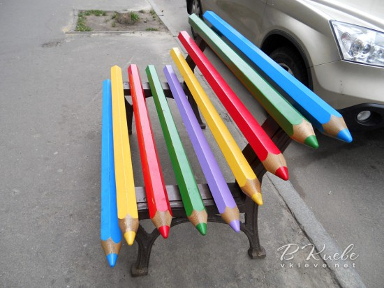 Colored-pencil-street-bench
