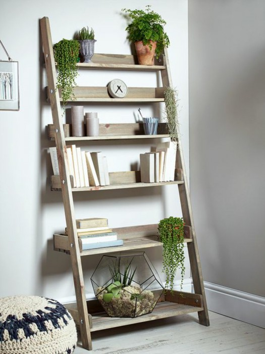 wooden-ladder-living-room-furniture-bookcase-houseplants-seat-cushion-knitted