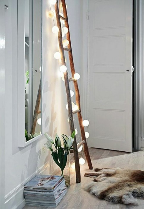 wooden-ladder-living-room-furniture-scandinavian-device-light-chain